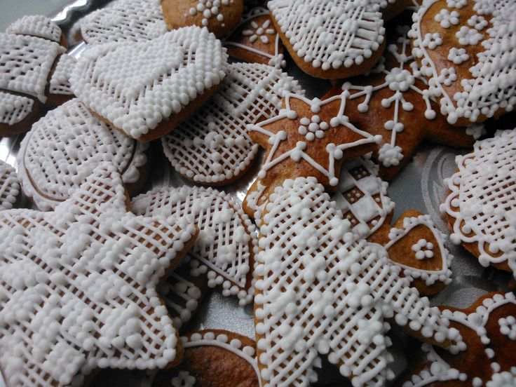 Christmas Honiees: honey cookies decorated by sugar glaze - typical for Central Europe