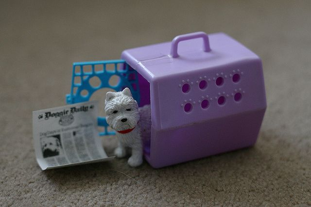 Carrier and newspaper: littlest pet shop. Dog: puppy in my pocket.