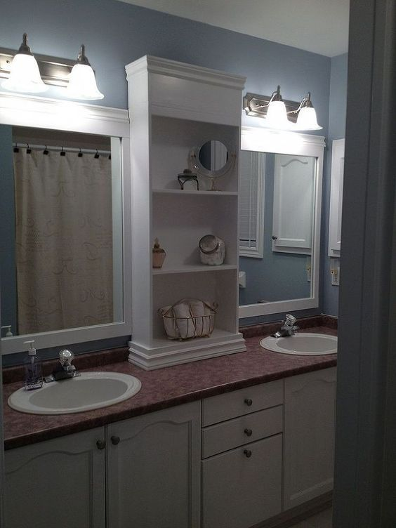 Upgrade A Boring Standard Bathroom Mirror With Diy Custom Shelves Frames Large Bathroom Mirrors Bathroom Mirror Design Bathroom Mirror Redo