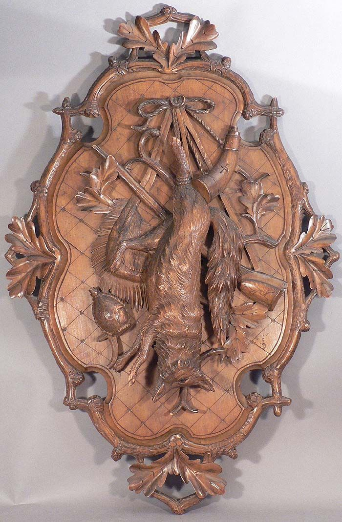 Large Carved Wall Plaque With Fox Wood Carving Carving Black