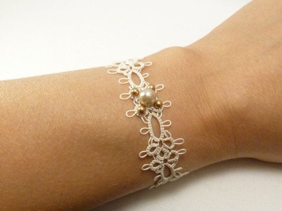 Tatted Lace jewelry Bridal Bracelet Grace in cream by SnappyTatter, $32.00