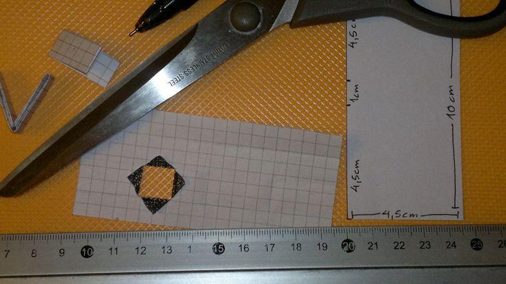 Papirflet tasker og andre smarte flettede ting: Skabelon til papriflette-led (candy wrapper led) med motiv