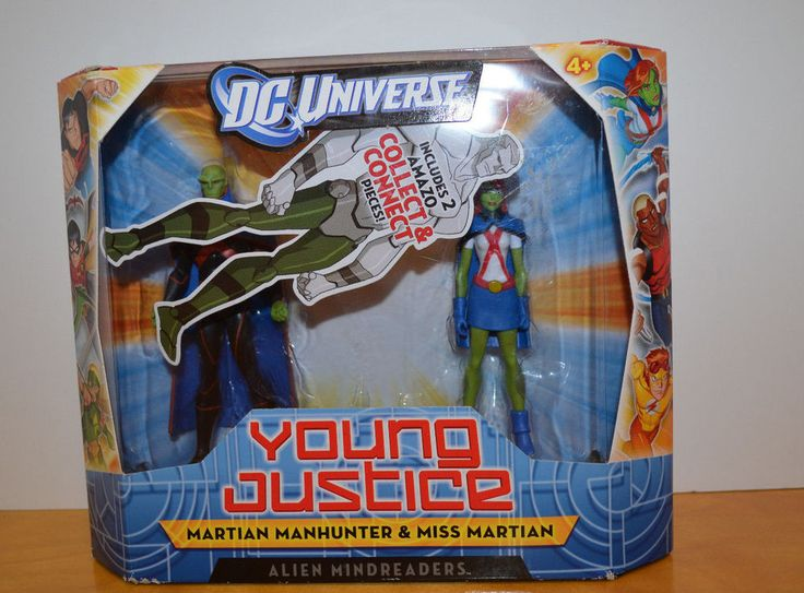 DC UNIVERSE YOUNG JUSTICE MISS MARTIAN & MARTIAN MANHUNTER ACTION FIGURES MISB #Mattel