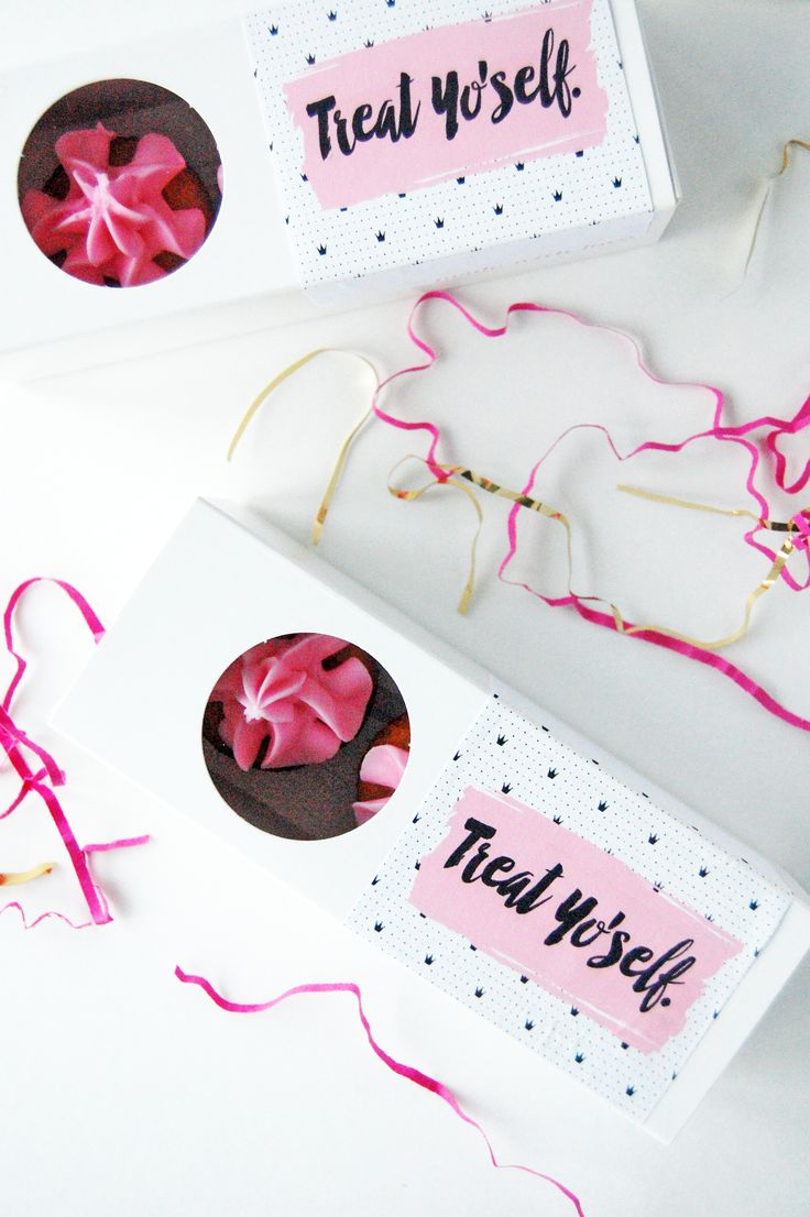 treat yoself mini cupcake favor- free printable