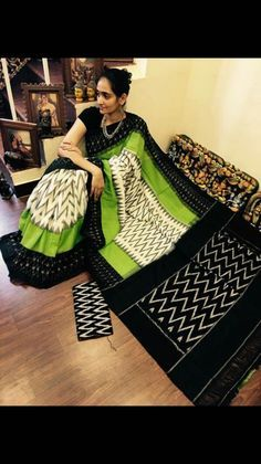 Cream and black with Apple green ikkat Cotton Sarees