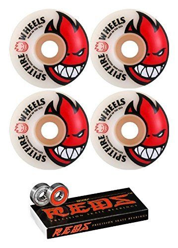 52mm Spitfire Wheels Bighead Skateboard Wheels with Bones Bearings - 8mm Bones REDS Precision Skate Rated Skateboard Bearings - Bundle of 2 items