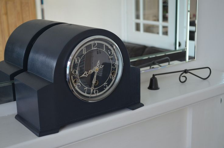 1940s Napoleon mantel clock originally teak now graphite grey with battery movement added