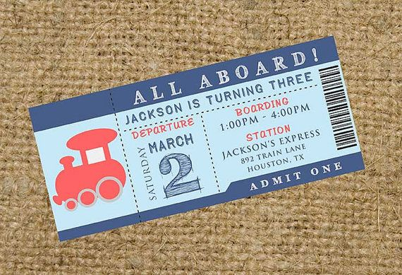 All Aboard Train Birthday Party or Baby Shower Invitation