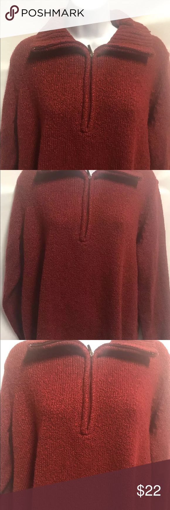 Carolyn Taylor Women Red Sweater size 1X Zip Up Carolyn Taylor Women Red Sweater size 1X Zip Up Plus size  23 inches armpit to arm pit 25 3/4 length Made in Indonesia Machine Wash 93% acrylic 7% polyester Sweaters V-Necks