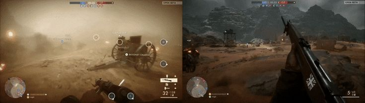 Battlefield One's weather system is client side not server based. Massive balancing issue. My screen on left friend on right.