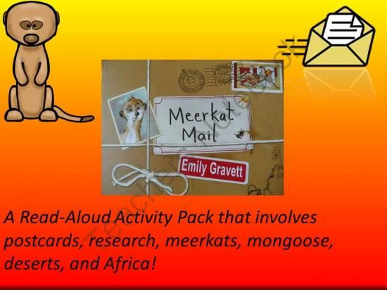 Meerkat Mail Activity Packet from Everyday Adventures on TeachersNotebook.com -  (10 pages)  - Using the story, Meerkat Mail, students explore postcards, Africa, meerkats, and the mongoose.