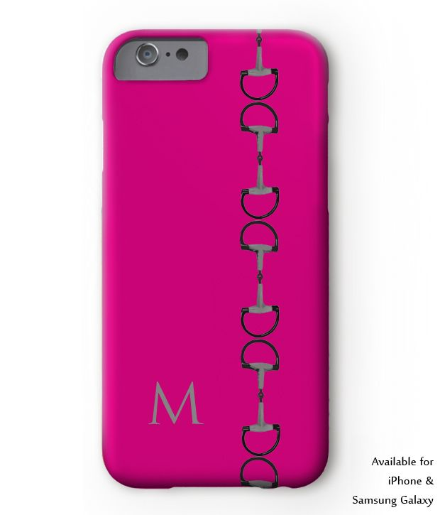 equestrian iphone case or samsung phone case. Classic snaffle bit design with monogram initial for your first or last name. Perfect case for the horse lover hunter jumper or dressage horseback rider. Berry Pink, red or teal blue color.