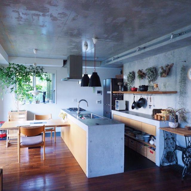 コンクリート打ちっ放し/コンクリートキッチン/観葉植物/キセログラフィカ/キッチン…などのインテリア実例 - 2015-10-17 22:01:43   RoomClip(ルームクリップ)