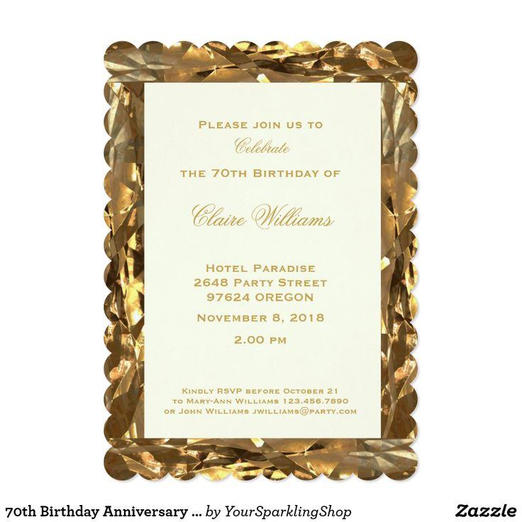 70th Birthday #Anniversary Gold Ivory Elegant #Party #Invitation Card