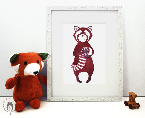 Aurore makes and paints beautiful woodland animals. This sweet red panda would look wonderful in a child's nursery. Red panda print woodland themed illustration by FriendsintheLeaves