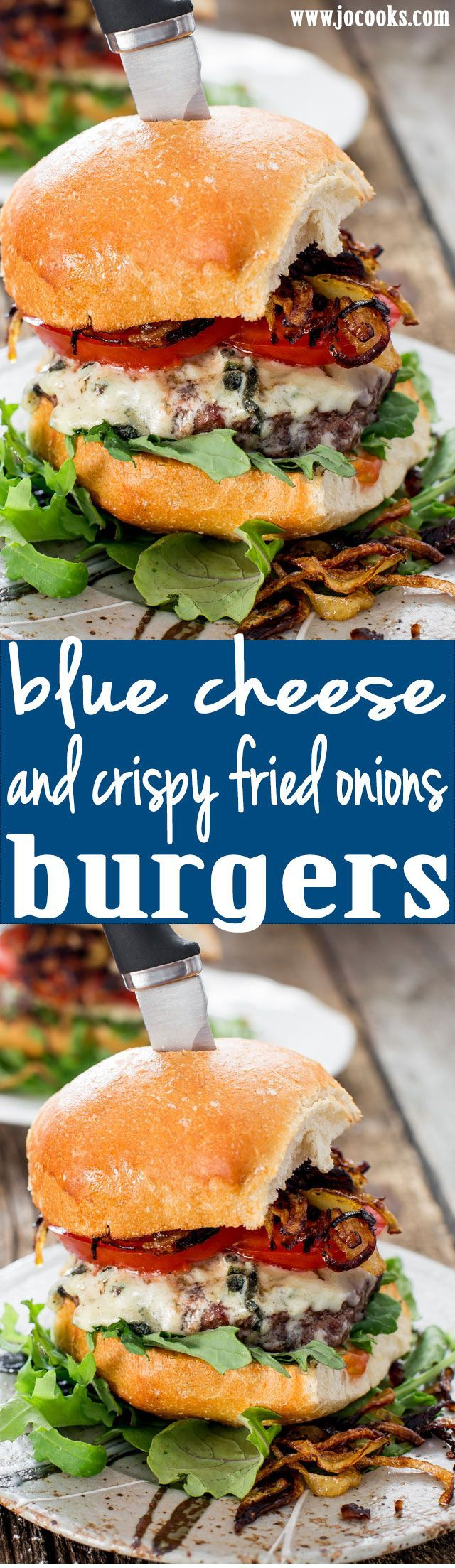 Blue Cheese and Crispy Fried Onion Burgers - these incredible burgers with tangy and creamy blue cheese and crispy fried onions are perfect for your weekend barbecue.