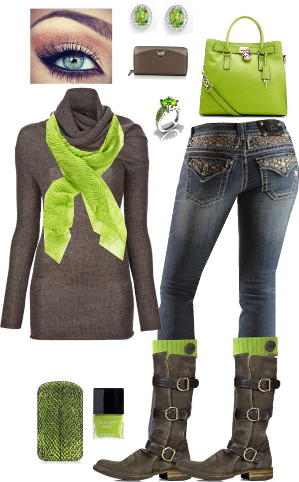 """Lime and Brown"" by crzrdnk77 on Polyvore"