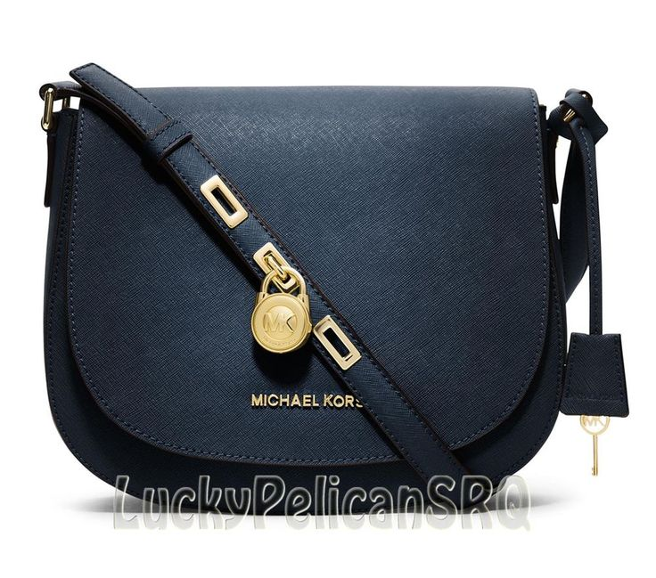 Michael Kors Navy Blue Large Hamilton Saffiano Messenger Crossbody Bag NWT # MichaelKors #MessengerCrossBody