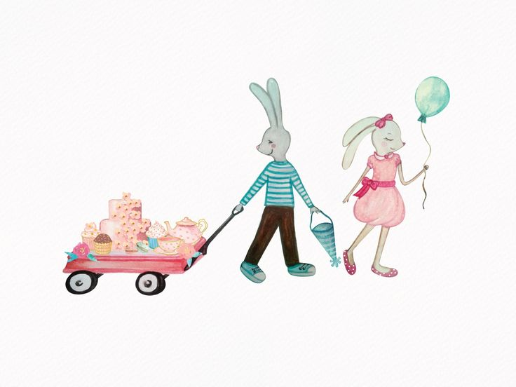 Bunnies and baked goodies Illustration Hand Painted in Watercolors