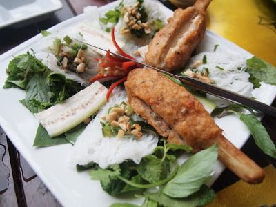 Grilled shrimp mousse on sugarcane skewers at Morning Glory Restaurant, Hoi An