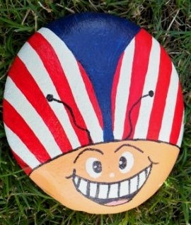 Rock Hand Painted Patriotic Bug American Red White by KathiJanes, $16.95