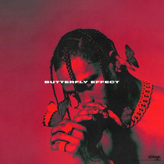 Travis Scott Butterfly Effect Music Album Cover Art Silk Etsy In 2020 Music Album Cover Red Aesthetic Art Collage Wall