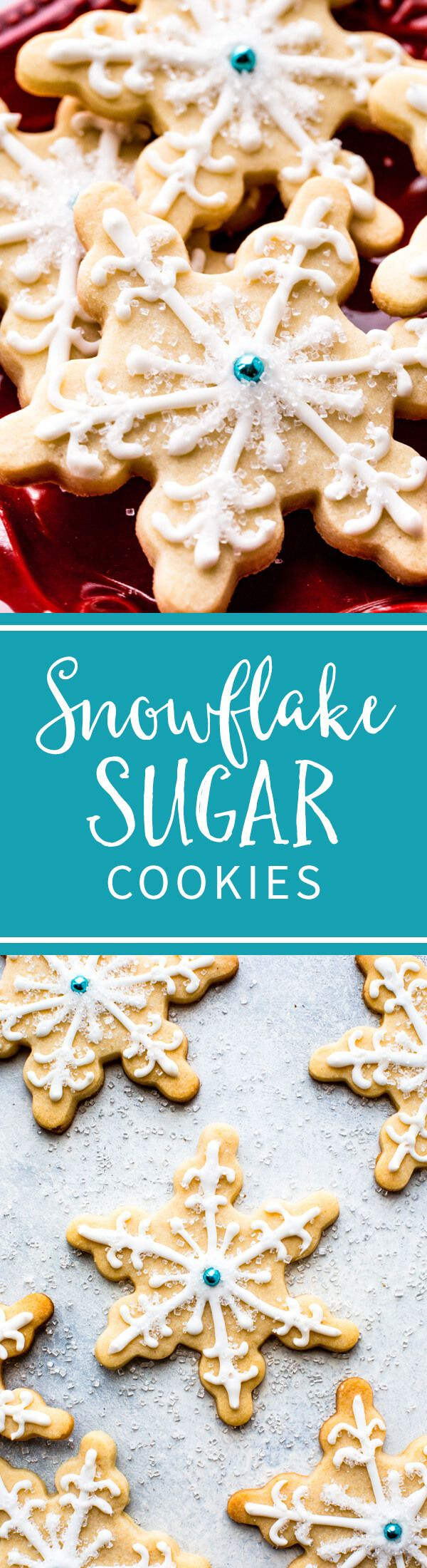 Learn how to make beautiful and easy snowman and snowflake sugar cookies with royal icing! Christmas cookies recipe on sallysbakingaddiction.com