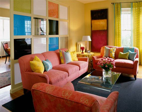 yellow paint and pink living room furniture upholstery fabric