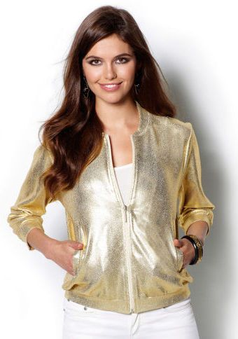 Třpytivá bunda s dlouhými rukávy #ModinoCZ #jacket #goodlooking #fashion #moda #trendy #bunda #kratkabunda #stylish #styl