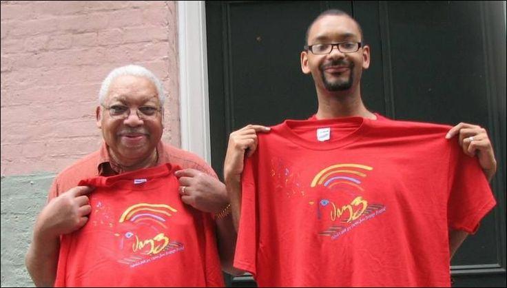 Ellis Marsalis, left, and his son Jason display T-shirts promoting ...