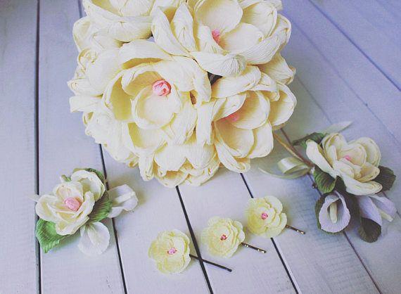 3 PCS little high quality Crepe Paper Wedding Magnolia