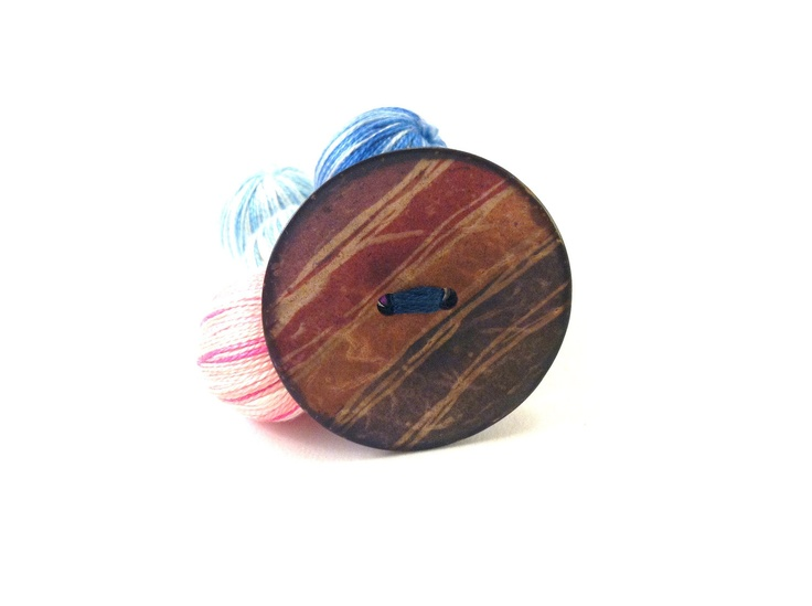 Colorful wooden button brooch with stripes by Mariabuttons on Etsy