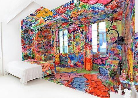 Graffiti artist Tilt has just completed this half-graffed room for French hotel Au Vieux Panier. Similar to the Carlton Arms in NYC, the interior design of each hotel room is on annual rotation, inviting world-renowned artists to make their mark. Panic Room by Tilt is just one of the amazing designs, split half-way down the middle creating one side of chaotic colours and the other bright white.