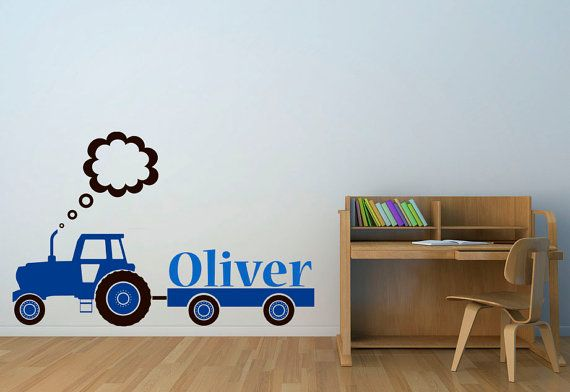 Personalised Name Tractor And Trailer Kids Room Quality Vinyl