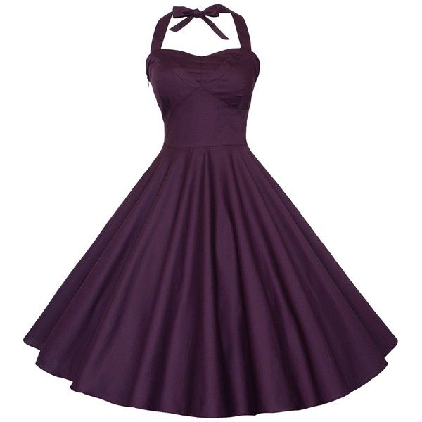 Maggie Tang 50s Vintage Detachable Halterneck Swing Rockabilly Ball... ($40) ❤ liked on Polyvore featuring dresses, gowns, rockabilly dresses, halter gown, purple dress, vintage evening dresses and halter evening dress