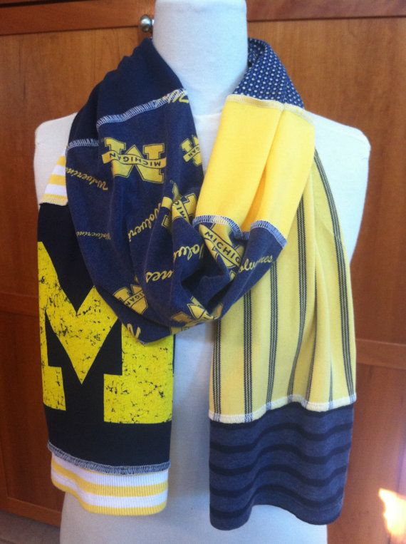 UPCYCLED t-shirt scarf... University of Michigan... U of M... Wolverines... blue and gold via Etsy