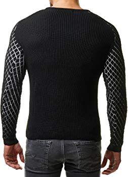 b5009ab66a97 EightyFive Herren Winter Strick Pullover Slim Fit Netz Schwarz Weiß Rot  EF1746, Größe L