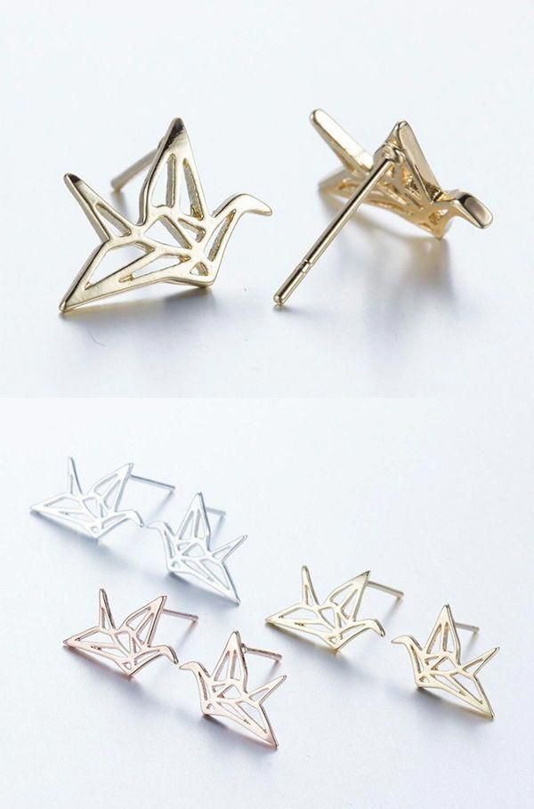 Origami Crane Stud Earrings – CraftyChica :: Crafts by Lindi | 909x600