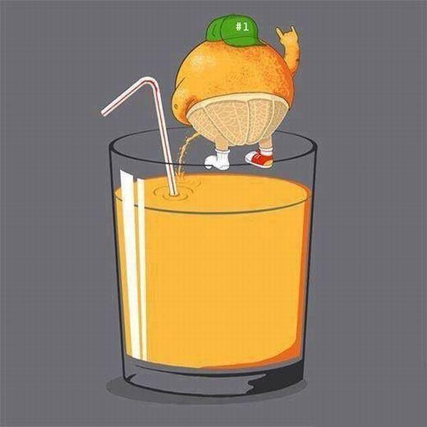 Y así se hace el zumo de naranja.