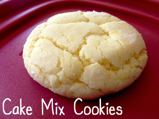 Cake mix cookie Super simple, easy, delicious cookies!   1 box cake mix, 2 eggs, 1/3 cup oil  Mix ingredients  Roll dough into balls Roll balls in sugar (or cinnamon sugar spice mix) Flatten balls on