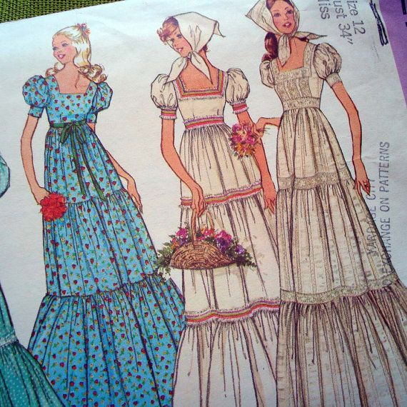1970s Vintage Sewing Pattern  BOHO Peasant by SelvedgeShop on Etsy, $9.00