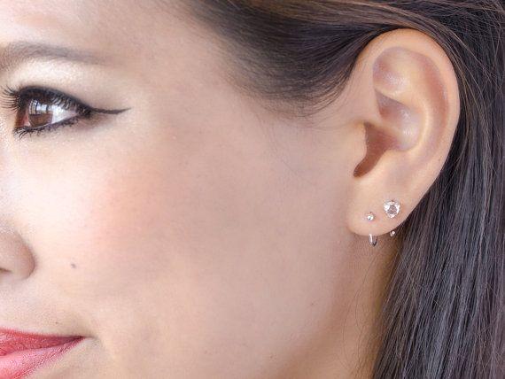 Tiny Hugging Hoops Gold Plated Earrings Simple Hug by lunaijewelry