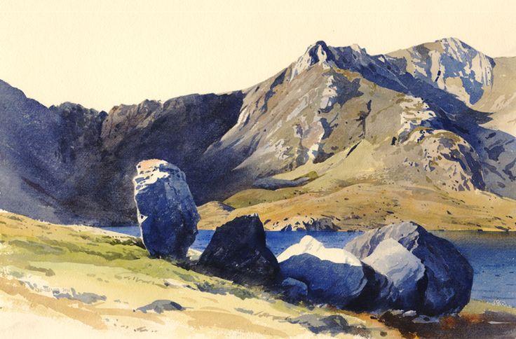 Rocks near Llyn Idwal, an original watercolour painting by Rob Piercy