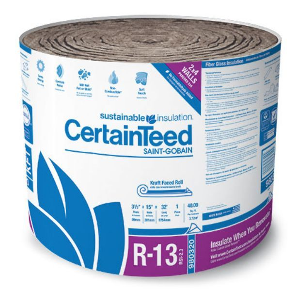 3 1 2 Inch X 15 Inch X 32 Foot R13 Kraft Faced Sustainable Insulation Certainteed Fiberglass Insulation Insulation
