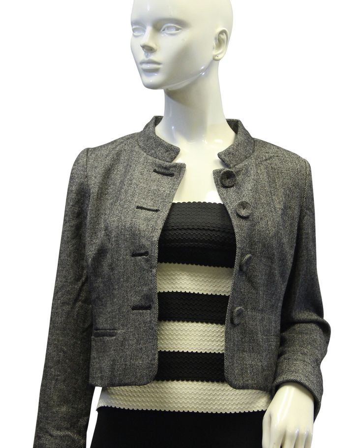 Banana Republic Gray Tweed Blazer Size 2 (SKU 000032)