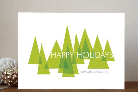 Ana Gonzalez's 'Mod Trees' business holiday card adds a modern and geometric touch.