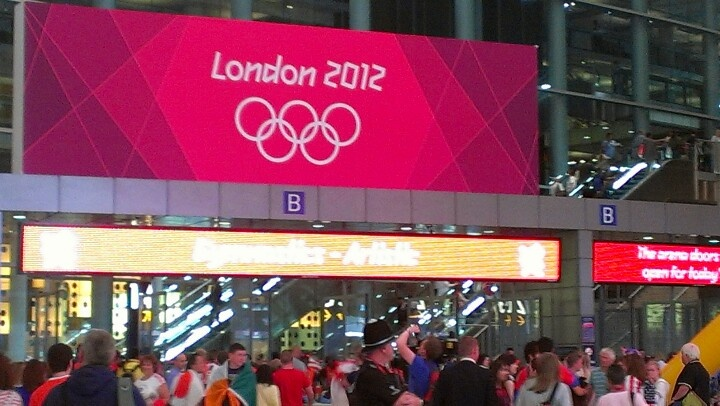 Entrance to the O2 Arena for the Men's Team Gymnastics Final during the Olympics 2012