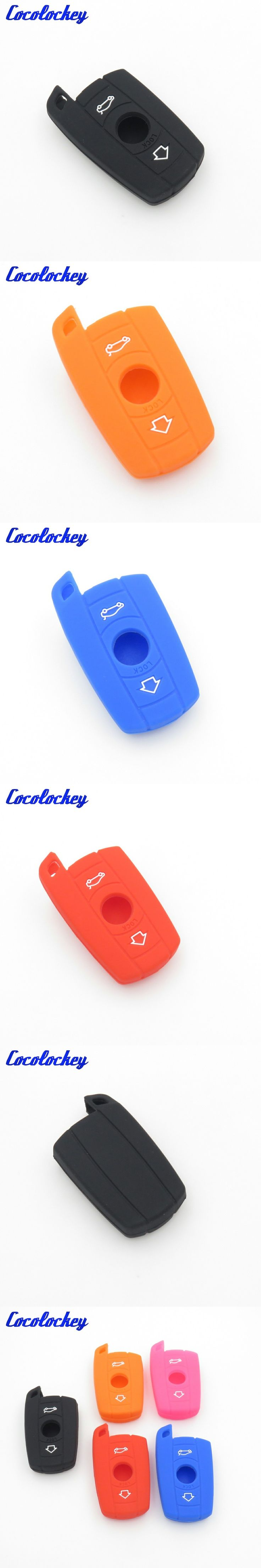 Cocolockey Silicone Key Cover Case Fob Shell Skin Set Fit For BMW 3 5 Series X1 X3 X4 X5 X6 Smart Key Card Car Styling 3Buttons