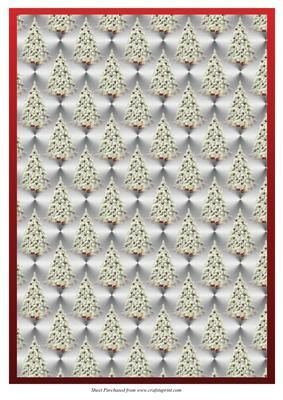White Xmas Tree Backing Paper on Craftsuprint designed by Jean Gordon - This backing paper has white xmas trees with a red border - Now available for download!