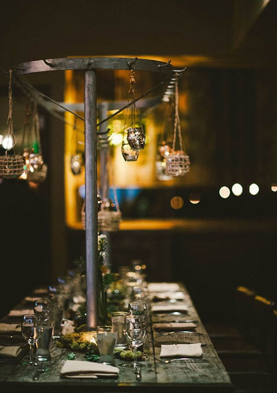 Creative industrial wedding: Casey + David | Real Weddings | 100 Layer Cake mossy table runner centrepiece of tablescape
